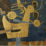 music homage to klimt watercolor and 23 ct gold-leaf